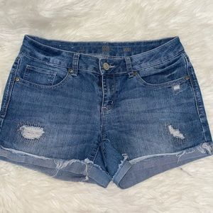 SO MIDI distressed shorts